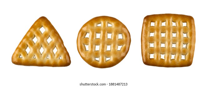 Cookies triangular, round and square shape isolated on white background. Top view