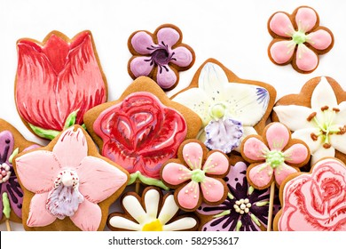 Cookies-flowers, gift on Mother's Day, Women's Day, gift, surprise, flowers in box