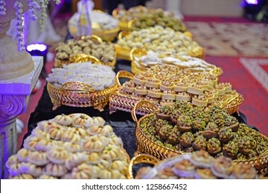 cookies.Moroccan biscuits are served with tea. Moroccan biscuits are offered at the wedding and Eid al-Fitr