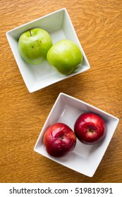 Cooking apples in a container from above.