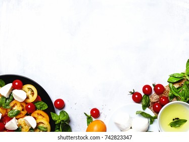 Cooking background, ingredients for prepare caprese salad, top view
