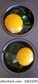 Cooking baked egg muffins in an oven. Eggs with spinach and sausage being backed in an oven. Keto, low carb, step by step instructional.