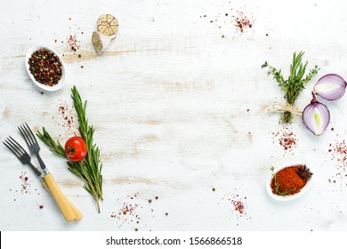Cooking banner. Background with spices and vegetables. Top view. Free space for your text. - Shutterstock ID 1566866518
