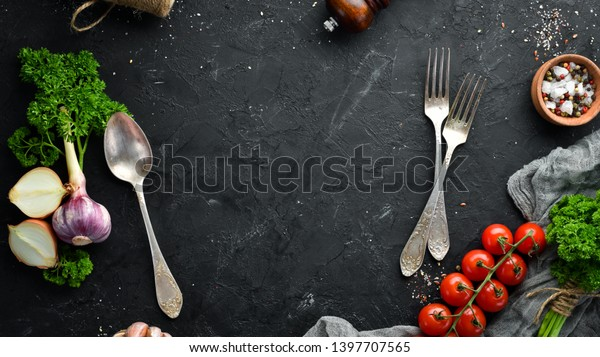 Cooking Banner Vegetables Spices On Black Stock Photo Edit Now 1397707565