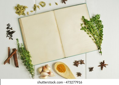 cooking book with cooking ingredients