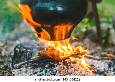 Cooking cabbage soup on a bonfire