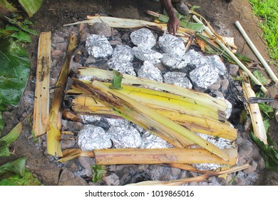 Cooking chicken with yams, sago and sweet potato, using an Earth Oven, called Mumu by locals, in Papua New Guinea, near Alotau.