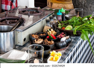 Cooking class, a table with spices and ingredients on it