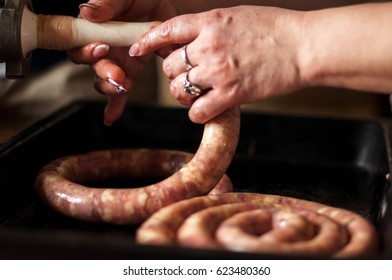 cooking close up homemade sausage with raw meat and spices