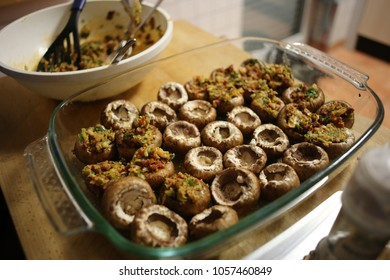 Cooking delicious filled Mushroom Tapas, Spanish specialty
