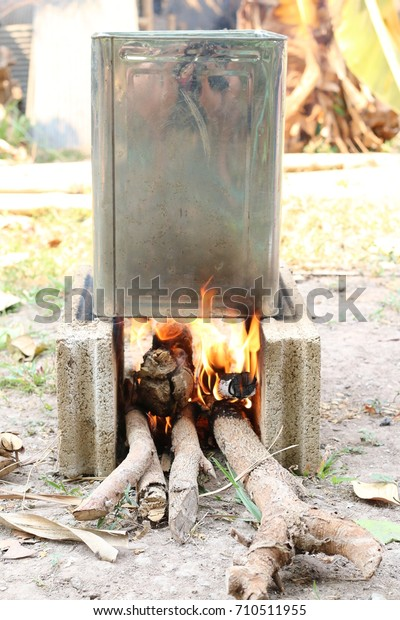 Cooking Dinner On Firewood Stove Outdoor Royalty Free Stock Image