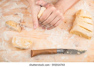 cooking dough on a wooden table