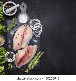 Cooking fish with herbs, butter and lemon, and pepper in a mortar  border  place for text