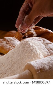 Cooking flour and bread with hand