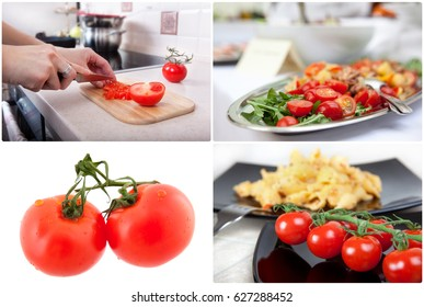 Cooking, food and home concept - dishes using tomatoes