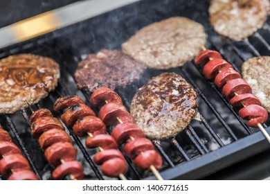 Cooking food on a BBQ Grill.