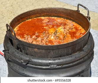 Cooking goulash outdoor