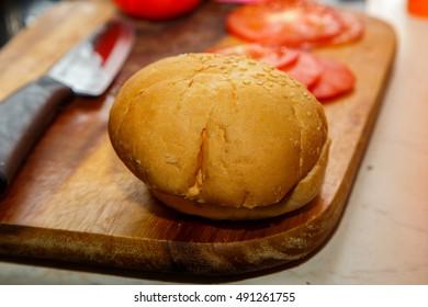 cooking hamburger