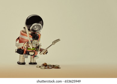 Cooking kitchen chef character with fork knife and abstract breakfast. Food menu concept with friendly robot, black helmet electric wires transistors on beige gradient background copy space.