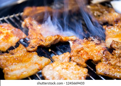 Cooking Korean style barbeque pork and deodeok
