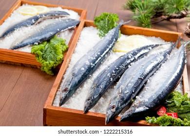 Cooking mackerel on plate