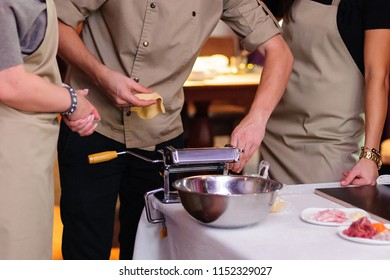 Cooking master class. Pasta preparation