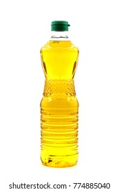 Cooking oil bottle with green cap isolated white background.
