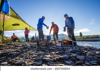 Cooking on a canoe trip on the Nahanni River in the Northwest Territories, Canada.