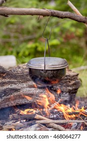 cooking over a campfire in the forest.
