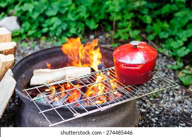 Cooking over a open fire pit