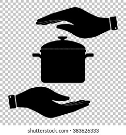 Cooking pan sign. Save or protect symbol by hands.