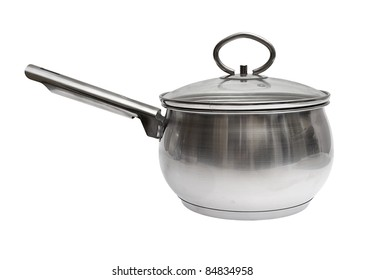 Cooking pot with glass lid isolated on the white background with