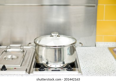 Cooking pot with light coming from it