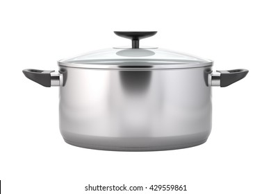 Cooking pot. Stainless steel pot with black handles. Soup pot with a lid. Kitchen stainless dishware. Isolated on white background. 3D illustration.