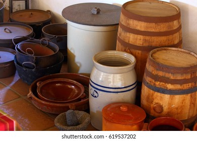 cooking pots, crocks and barrels