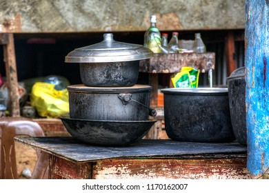 Cooking Pots in a Philippino Kitchen in El Nido, Palawan, Philippines