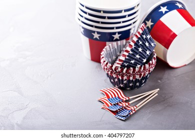 Cooking and preparing for Independence Day paper cups and flags
