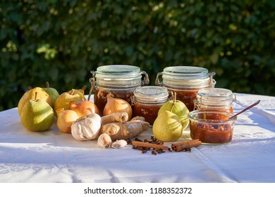Cooking and preserving pear chutney, all ingredients and cooked chutney