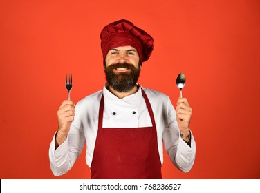 Cooking process commercial concept. Man with beard holds kitchenware on red background. Cook with cheerful face in burgundy hat and apron holds spoon and fork. Chef holds cutlery.