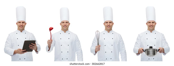 cooking, profession, culinary and people concept - happy male chef cook set with kitchen utensils ant tablet pc computer
