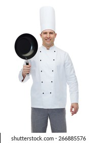 cooking, profession and people concept - happy male chef cook holding frying pan