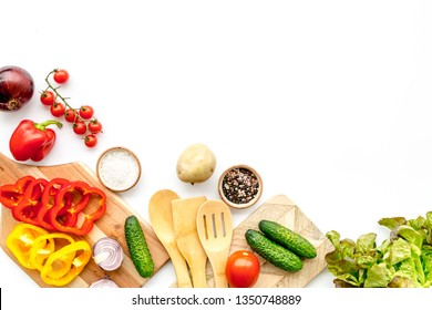 cooking with raw vegetables on white background top view mockup