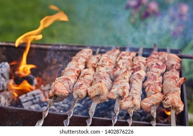 Cooking shashlik on the mangal in nature