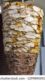 Cooking shawarma, meat layers strung on a skewer, chopped meat is on grill surface, front view