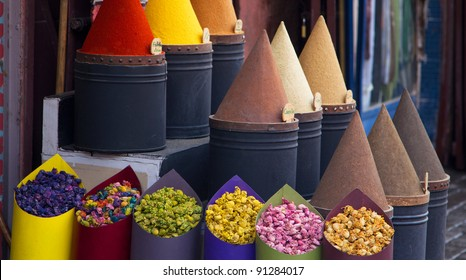 Cooking Spices and flower in local medina market in Fez, Morocco