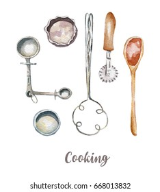 Cooking tools set illustration. Hand drawn watercolor on white background.