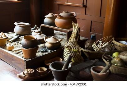 Cooking utensils ancient Thailand,Black, blurred