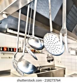 Cooking utensils in a kitchen