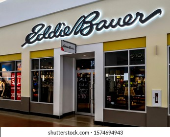Cookstown, Ontario, Canada - August 4, 2019: Eddie Bauer store in the mall in Barrie, Ontario, Canada. Eddie Bauer is a clothing store operated by American company Eddie Bauer, LLC.