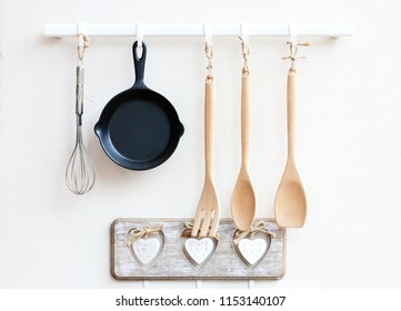 Cookware hanging on the wall